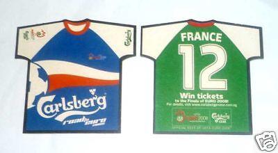 SINGAPORE Mat Coaster CARLSBERG BEER Euro 2008 FRANCE Shirt RARE Football image
