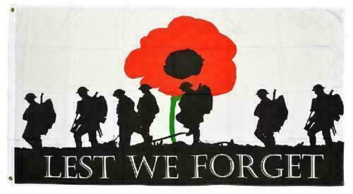 Lest We Forget Poppy ANZAC Day Flag 90 cm x 150 cm