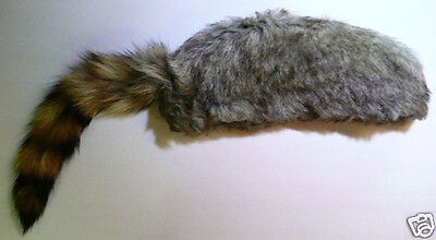 COON SKIN CAP hat Davy Crocket raccoon coonskin S, M, L, XL REAL COON TAIL