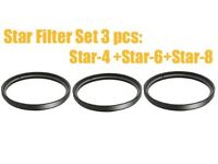 3pcs 52mm Star Light Flare Cross Filter 4 + 6 + 8 Point