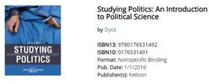 Studying Politics: An Intro to Political Science, 5th Ed. (Used