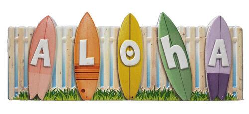 Hawaiian Poly Resin Wall Sign Aloha Surfboards Hawaii Island Home Bar Decor New
