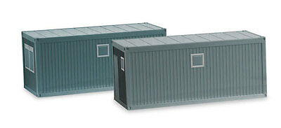 2 CONSTRUCTION MOBILE OFFICE HERPA 1/87 Plastic Miniature ACCESSORY HO Scale ](Construction Containers)
