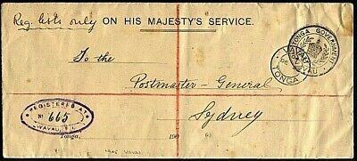 TONGA 1904 Registered OHMS cover ex VAVAU to PMG Sydney....................21015