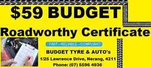 $59 BUDGET ROADWORTHY CERTIFICATES NERANG Nerang Gold Coast West Preview