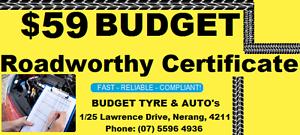 $59 BUDGET ROADWORTHY CERTIFICATES NERANG ****4936 Nerang Gold Coast West Preview