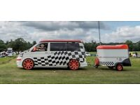 Standout 4 birth pop top T5 VW CamperVan + matching trailer + many outstanding features