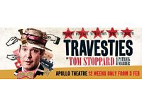 'Travesties' @ Apollo Theatre- 2 x Stalls Tickets Row R at £62.50 each Fri 3rd March