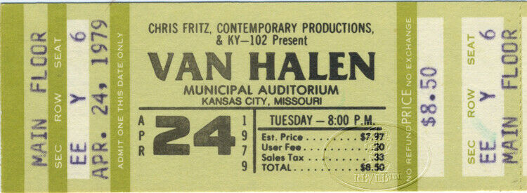 VAN HALEN 1979 Tour Unused Concert Ticket