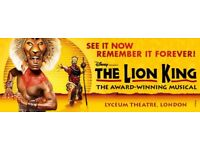 3 x superb Lion King Tickets 28/04/18 at 7.30pm - stalls cost £140 each