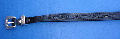 """Western Hat Decor Hand Tooled Black Leather HAT BAND 1/2"""" Wide"""