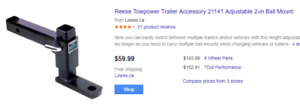 """Reese adjustable Towing Ball Hitch 1"""" 7/8 ball"""