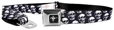 Seatbelt Men Canvas Web Military Ford Mustang GT Cobra Skulls Black Grays White
