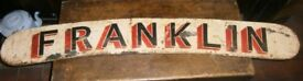 Old handpainted lorry or Cart sign FRANKLIN metal sign