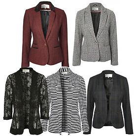 Peacocks Womens Ladies Check Tweed Jacket One Button Office Smart Look Blazer