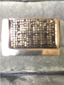 Mans sterling silver ring with 9 tiny black diamonds size 10