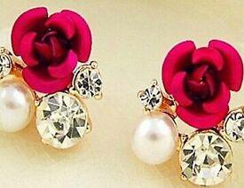 Vintage Style Cute Rose Flower Crystal Rhinestone Gold Plated Ear Stud Earrings