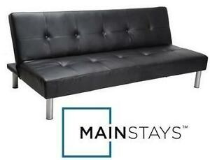 NEW* MAINSTAYS FAUX LEATHER FUTON - 110111544 - FUTON FAUX LEATHER - BLACK