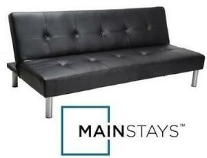 NEW* MAINSTAYS FAUX LEATHER FUTON FUTON FAUX LEATHER - BLACK 103439102
