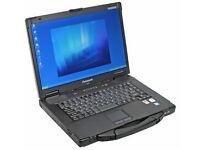 Tough Panasonic Toughbook Cf 52 Laptop Windows 7 Pro 4 Gb 250gb dvd core i5