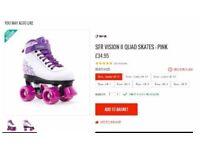 Sfr vision ii quad skates white / pink