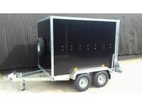 Box Trailer Tickners GT 7' x 5' x 5' in Black with Barn Doors