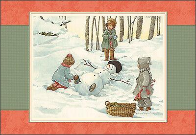 Leanin' Tree Christmas Card - Snowman Making A Snow Angel Theme ID260 ()