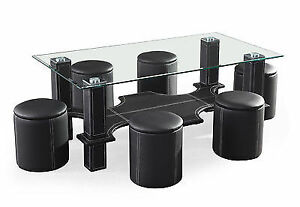 Tempered Glass Top Coffee Table With 6 Stools.