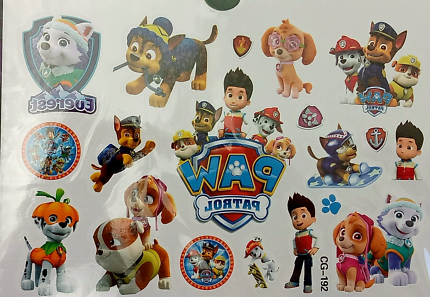 New paw patrol kids temporary tattoo party favours lolly bag