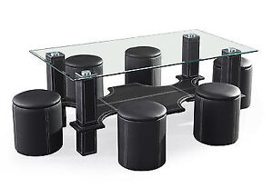 Tempered Glass Top Coffee Table With 6 Stools. I