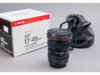Canon EF 17-40mm f4, boxed. VGC.