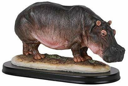 "11"" Long African Hippopotamus Hippo Resin Figurine Statue with Base Decor"