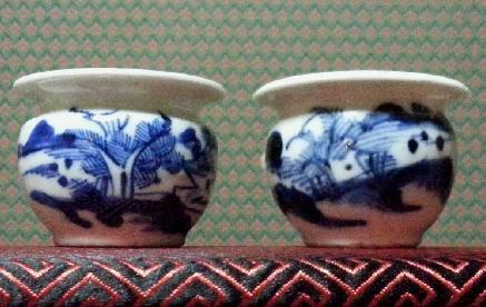 "*  SOLD  * ""清代山水图"" Qing Antique Pair Bird Cups"