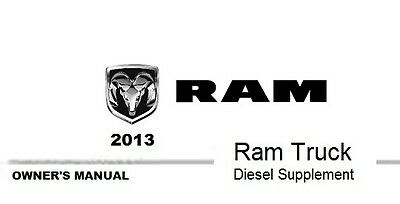 2013 Ram Truck 1500 2500 3500 Owner's Owner Owners User Manual Diesel Supplement