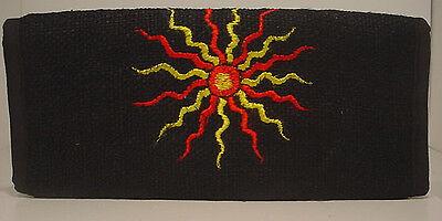 embroidered sun  ~ CHECKBOOK WALLET ~ dyed black hemp Dyed Black Hemp