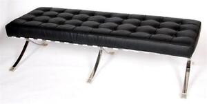 Faux Leather Seats Stainless Steel Barcelona Bench-MS 18 in Toronto Furniture Sale (BD-1455)