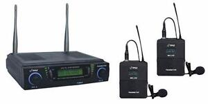 PylePro (PDWM3700) UHF Dual Channel Wireless Microphone Body Pack Transmitters and 2 Headset/Lavalier Mics