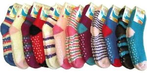 3 Pair Women's Striped & Colored Fuzzy Socks with NON SKID GRIPS