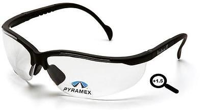 Lot Of 3 Safety Glasses Pyramex V2 Readers 1.5 Clear
