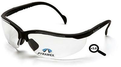 Lot Of 3 Safety Glasses Pyramex V2 Readers 3.0 Clear
