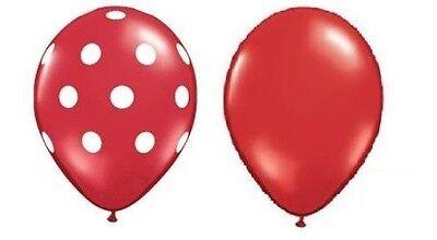 (24) Quantity Plain Red & Red White Polka Dot Latex 11