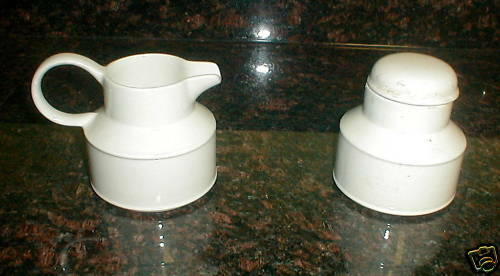 MIDWINTER STONEHENGE WHITE CREAMER and sugar bowl