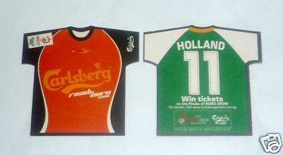 SINGAPORE Mat Coaster CARLSBERG BEER Euro 2008 HOLLAND Shirt RARE Football image