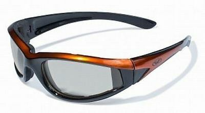 Orange Padded Motorcycle Sunglasses-TRANSITION PHOTOCHROMIC or Flash Mirror (Cheap Motorcycle Sunglasses)