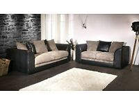 Black and Grey Fabric Sofa Settee Couch 3+2 Seater
