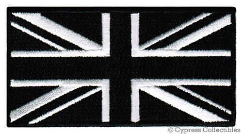 BLACK BRITISH FLAG iron-on PATCH UNION JACK ENGLAND UK embroidered GREAT BRITAIN