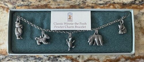 """Danforth Pewterers Classic Winnie the Pooh Bracelet w/ 5 Pewter Charms - 7 1/4"""""""