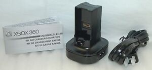 NEW Official Microsoft XBox 360 QUICK CHARGE Kit BLACK dual battery charger OEM