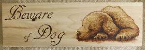 HANDMADE WOODBURNING 'BEWARE OF DOG SIGN' WITH CUTE PUPPY Peterborough Peterborough Area image 1