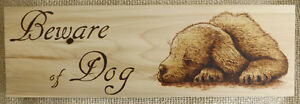 HANDMADE WOODBURNING 'BEWARE OF DOG SIGN' WITH CUTE PUPPY